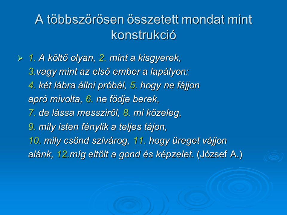 A többszörösen összetett mondat mint konstrukció  1. A költő olyan, 2. mint a kisgyerek, 3.vagy mint az első ember a lapályon: 4. két lábra állni pró