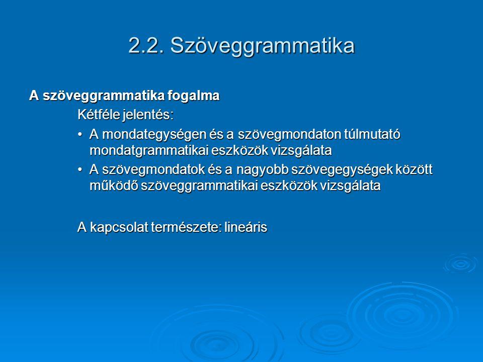 2.2. Szöveggrammatika A szöveggrammatika fogalma Kétféle jelentés: A mondategységen és a szövegmondaton túlmutató mondatgrammatikai eszközök vizsgálat