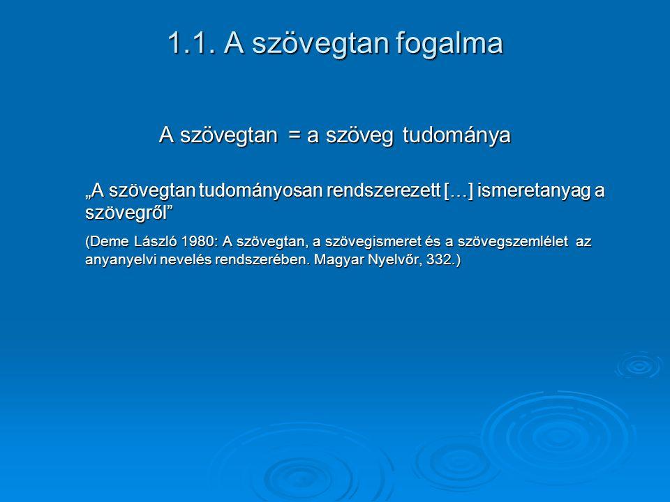 """1.1. A szövegtan fogalma A szövegtan = a szöveg tudománya """"A szövegtan tudományosan rendszerezett […] ismeretanyag a szövegről"""" (Deme László 1980: A s"""
