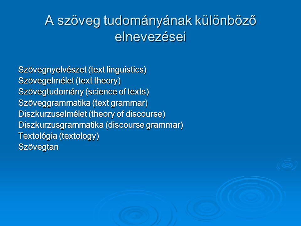 A szöveg tudományának különböző elnevezései Szövegnyelvészet (text linguistics) Szövegelmélet (text theory) Szövegtudomány (science of texts) Szöveggr