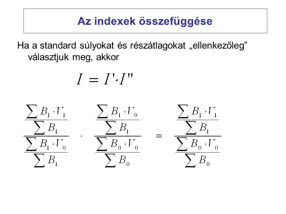 """Az indexek összefüggése Ha a standard súlyokat és részátlagokat """"ellenkezőleg"""" választjuk meg, akkor"""