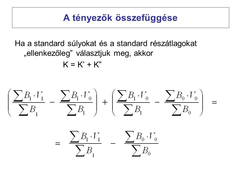 """A tényezők összefüggése Ha a standard súlyokat és a standard részátlagokat """"ellenkezőleg"""" választjuk meg, akkor K = K' + K"""""""