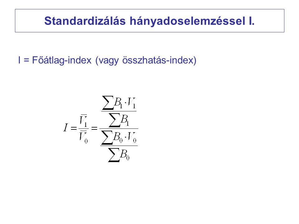 Standardizálás hányadoselemzéssel I. I = Főátlag-index (vagy összhatás-index)