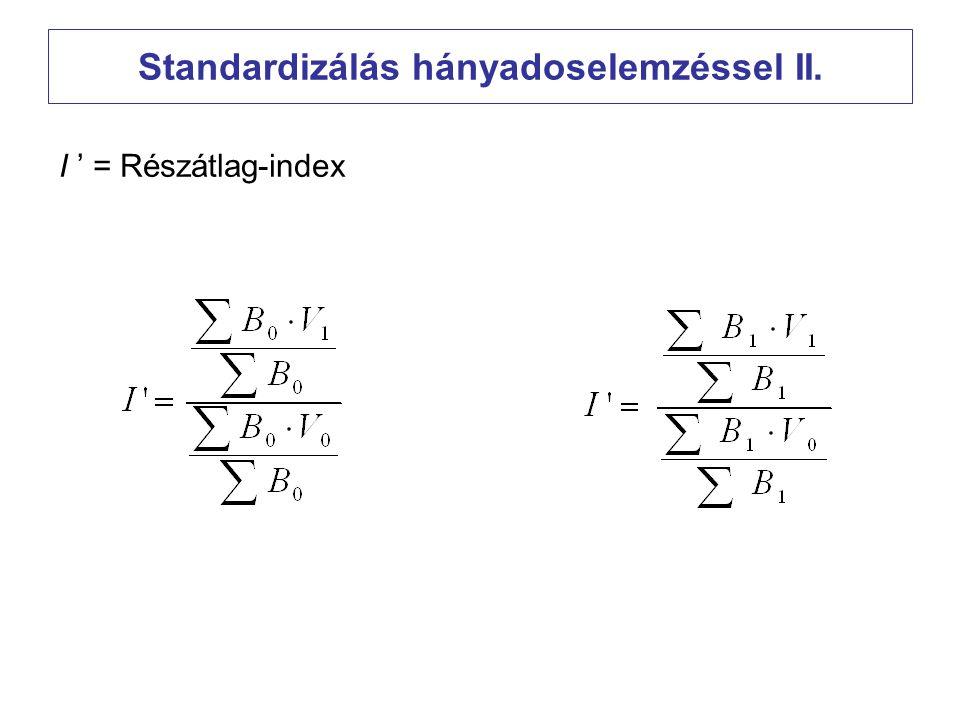 Standardizálás hányadoselemzéssel II. I ' = Részátlag-index