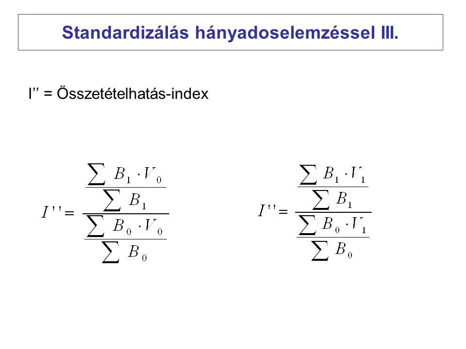 """Az indexek összefüggése Ha a standard súlyokat és részátlagokat """"ellenkezőleg választjuk meg, akkor"""