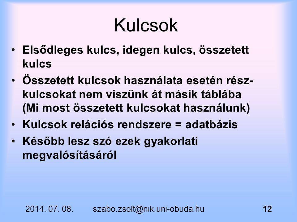 2014. 07. 08.szabo.zsolt@nik.uni-obuda.hu12 Kulcsok Elsődleges kulcs, idegen kulcs, összetett kulcs Összetett kulcsok használata esetén rész- kulcsoka