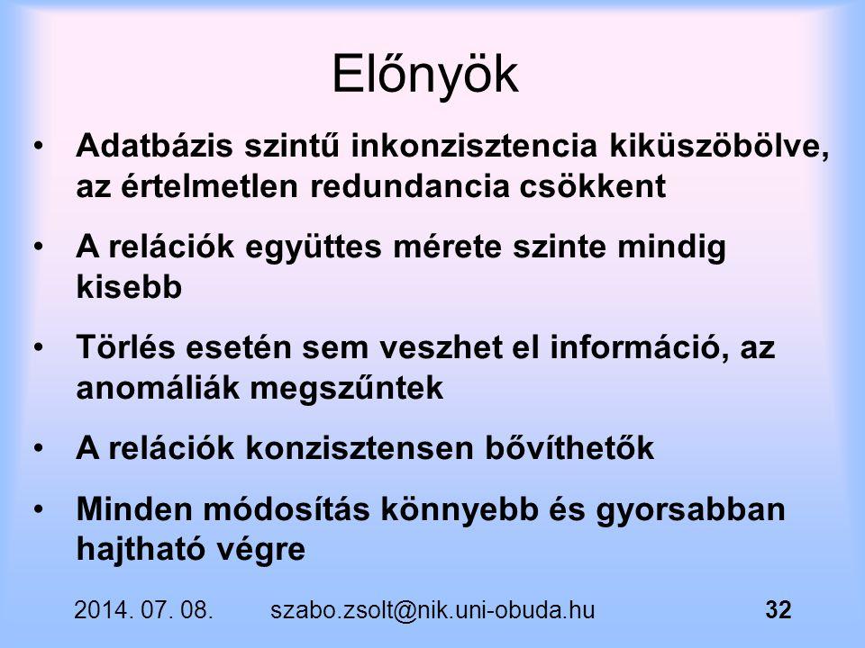 2014. 07. 08.szabo.zsolt@nik.uni-obuda.hu32 Adatbázis szintű inkonzisztencia kiküszöbölve, az értelmetlen redundancia csökkent A relációk együttes mér
