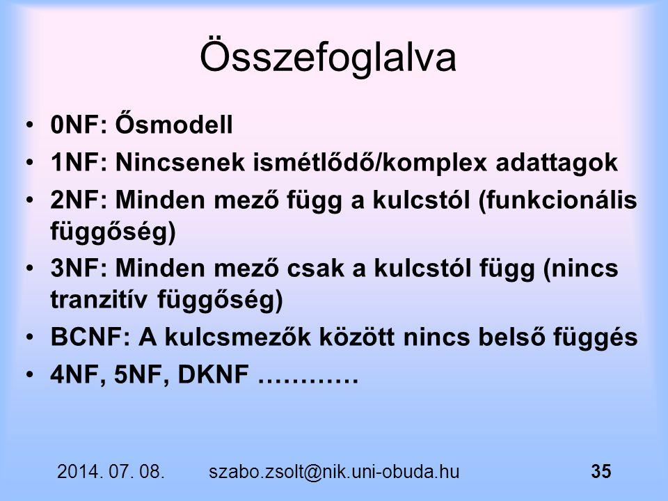 Összefoglalva 0NF: Ősmodell 1NF: Nincsenek ismétlődő/komplex adattagok 2NF: Minden mező függ a kulcstól (funkcionális függőség) 3NF: Minden mező csak