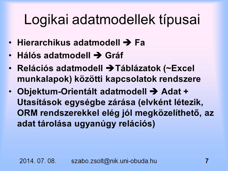 2014. 07. 08.szabo.zsolt@nik.uni-obuda.hu7 Logikai adatmodellek típusai Hierarchikus adatmodell  Fa Hálós adatmodell  Gráf Relációs adatmodell  Táb
