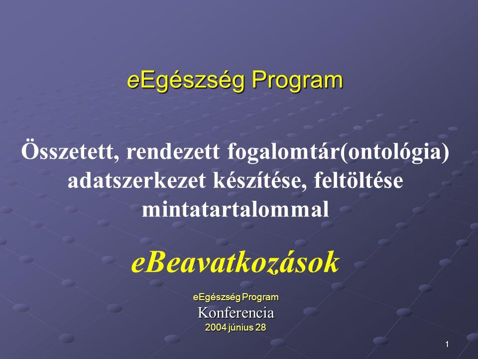 1 eEgészség Program Összetett, rendezett fogalomtár(ontológia) adatszerkezet készítése, feltöltése mintatartalommal eBeavatkozások eEgészség Program Konferencia 2004 június 28