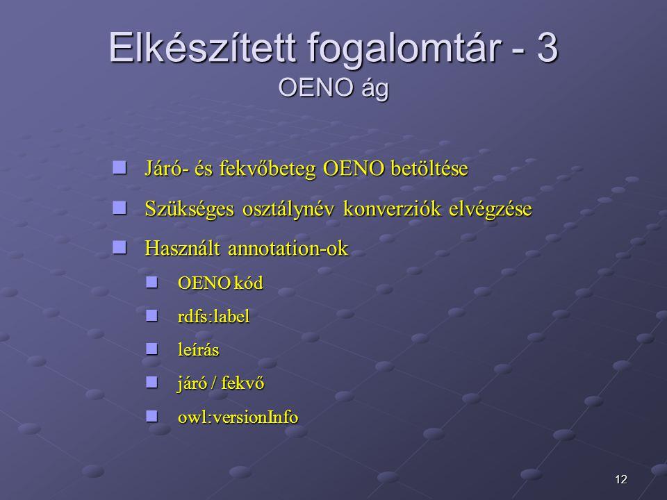 12 Elkészített fogalomtár - 3 OENO ág Járó- és fekvőbeteg OENO betöltése Járó- és fekvőbeteg OENO betöltése Szükséges osztálynév konverziók elvégzése Szükséges osztálynév konverziók elvégzése Használt annotation-ok Használt annotation-ok OENO kód OENO kód rdfs:label rdfs:label leírás leírás járó / fekvő járó / fekvő owl:versionInfo owl:versionInfo