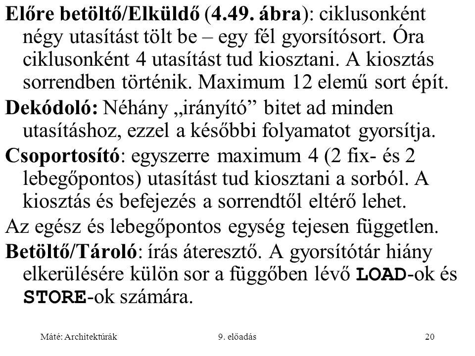 Máté: Architektúrák9.előadás20 Előre betöltő/Elküldő (4.49.
