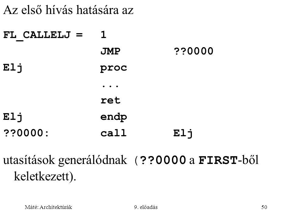 Máté: Architektúrák9.előadás50 Az első hívás hatására az FL_CALLELJ=1 JMP??0000 Eljproc...
