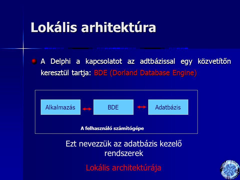 Lokális arhitektúra A Delphi a kapcsolatot az adtbázissal egy közvetítőn keresztül tartja: BDE (Dorland Database Engine) AlkalmazásBDEAdatbázis A felhasználó számítógépe Ezt nevezzük az adatbázis kezelő rendszerek Lokális architektúrája