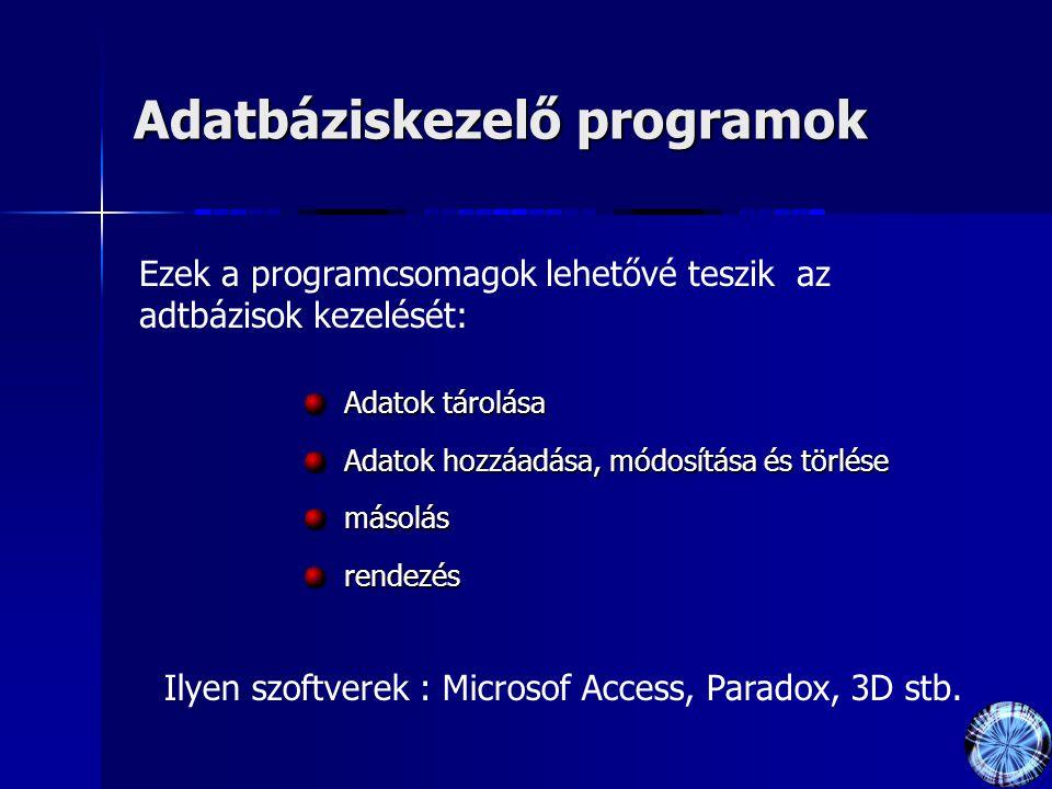 Adatbáziskezelő programok Adatok tárolása Adatok hozzáadása, módosítása és törlése másolásrendezés Ezek a programcsomagok lehetővé teszik az adtbázisok kezelését: Ilyen szoftverek : Microsof Access, Paradox, 3D stb.