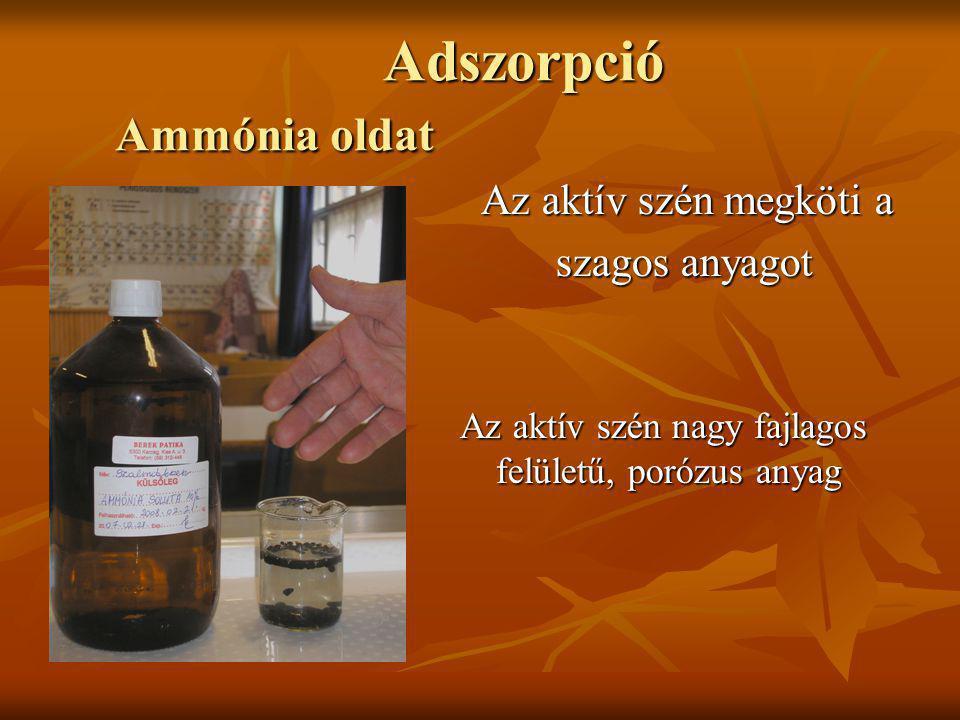 Adszorpció Ammónia oldat Adszorpció Ammónia oldat Az aktív szén megköti a Az aktív szén megköti a szagos anyagot szagos anyagot Az aktív szén nagy faj