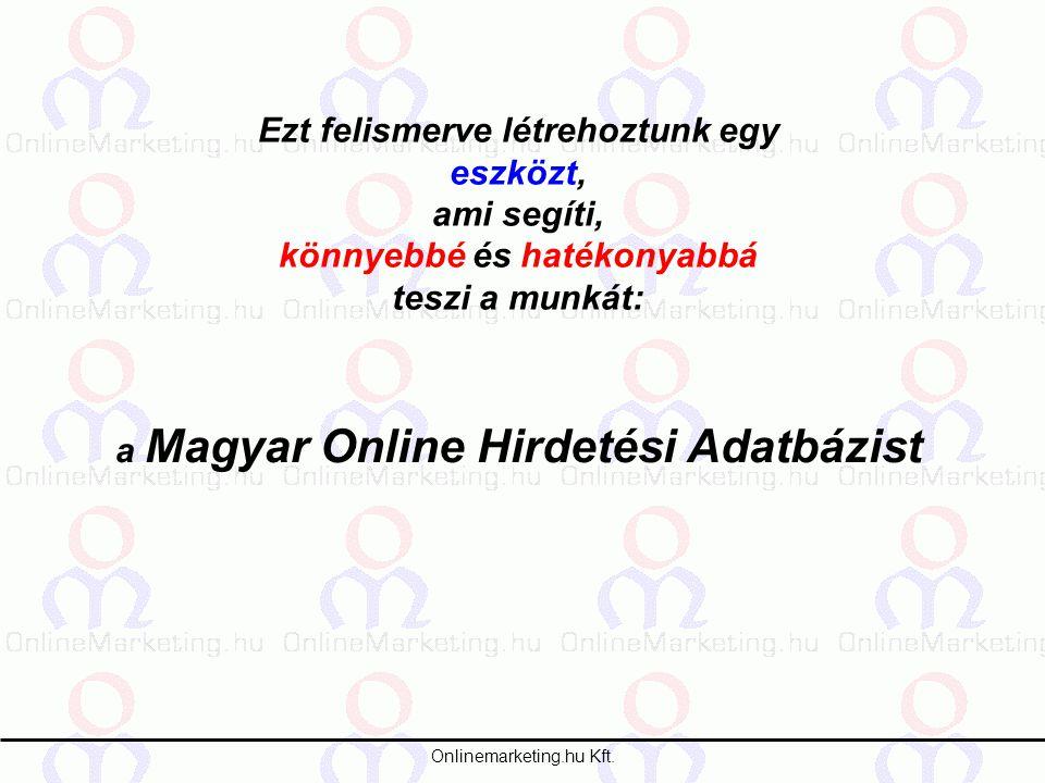 Onlinemarketing.hu Kft. Ezt felismerve létrehoztunk egy eszközt, ami segíti, könnyebbé és hatékonyabbá teszi a munkát: a Magyar Online Hirdetési Adatb