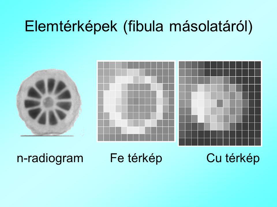 Elemtérképek (fibula másolatáról) n-radiogram Fe térkép Cu térkép