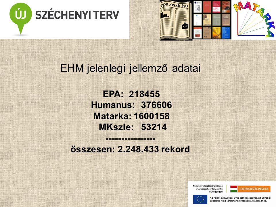 EHM jelenlegi jellemző adatai EPA: 218455 Humanus: 376606 Matarka: 1600158 MKszle: 53214 ---------------- összesen: 2.248.433 rekord