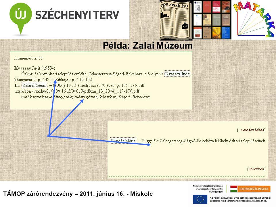 TÁMOP zárórendezvény – 2011. június 16. - Miskolc Példa: Zalai Múzeum