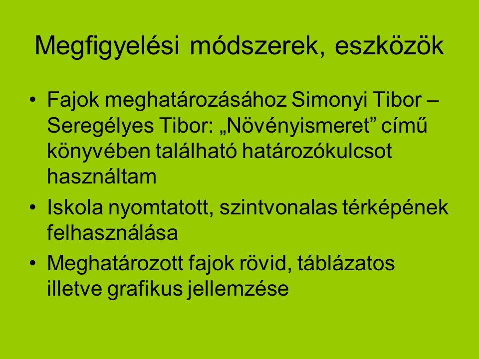 """Megfigyelési módszerek, eszközök Fajok meghatározásához Simonyi Tibor – Seregélyes Tibor: """"Növényismeret"""" című könyvében található határozókulcsot has"""
