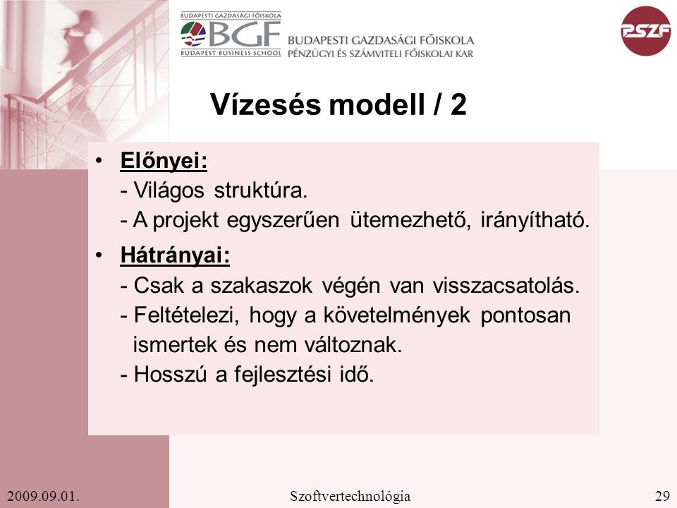29Szoftvertechnológia2009.09.01.Vízesés modell / 2 Előnyei: - Világos struktúra.