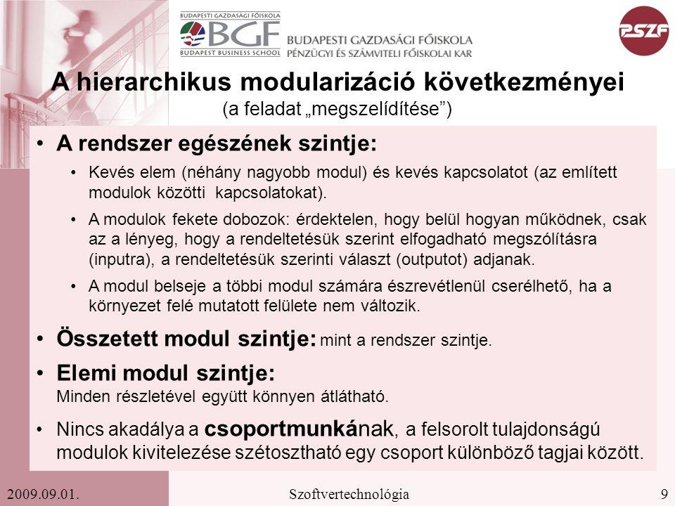 30Szoftvertechnológia2009.09.01. V modell