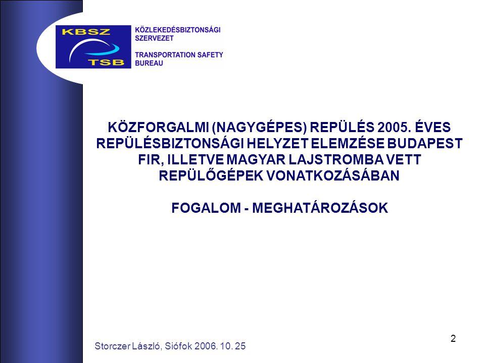 2 Storczer László, Siófok 2006.10. 25 KÖZFORGALMI (NAGYGÉPES) REPÜLÉS 2005.