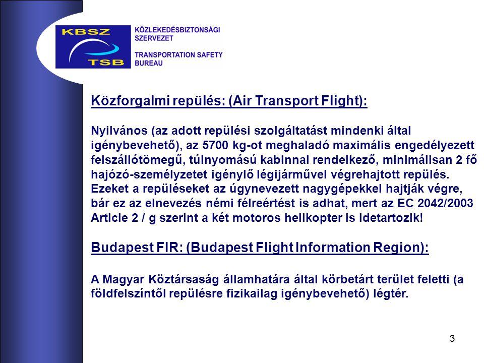 3 Közforgalmi repülés: (Air Transport Flight): Nyilvános (az adott repülési szolgáltatást mindenki által igénybevehető), az 5700 kg-ot meghaladó maximális engedélyezett felszállótömegű, túlnyomású kabinnal rendelkező, minimálisan 2 fő hajózó-személyzetet igénylő légijárművel végrehajtott repülés.
