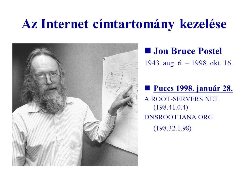 Az Internet címtartomány kezelése Jon Bruce Postel 1943. aug. 6. – 1998. okt. 16. Puccs 1998. január 28. A.ROOT-SERVERS.NET. (198.41.0.4) DNSROOT.IANA