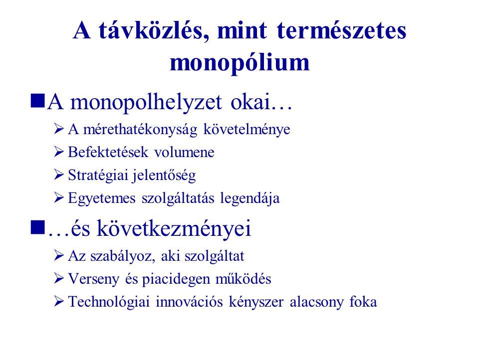 A távközlés, mint természetes monopólium A monopolhelyzet okai…  A mérethatékonyság követelménye  Befektetések volumene  Stratégiai jelentőség  Eg