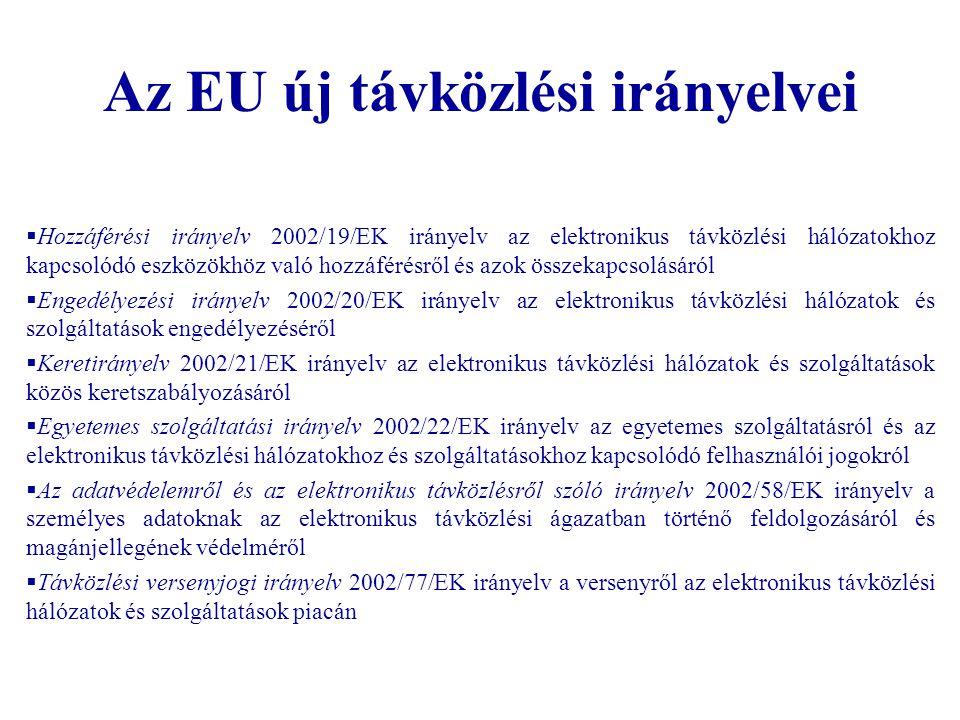 Az EU új távközlési irányelvei  Hozzáférési irányelv 2002/19/EK irányelv az elektronikus távközlési hálózatokhoz kapcsolódó eszközökhöz való hozzáfér