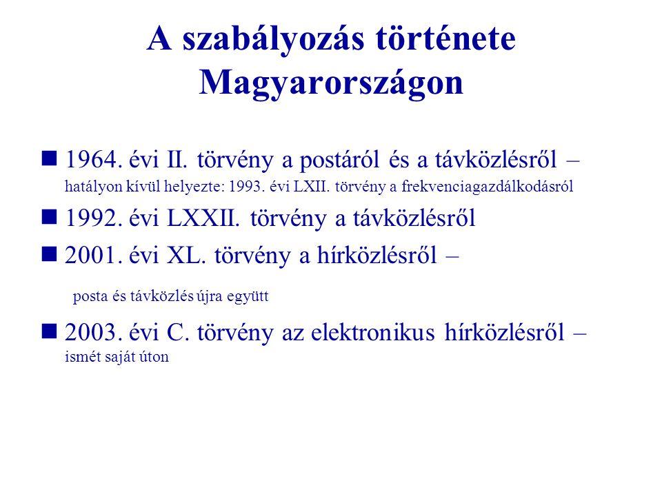 A szabályozás története Magyarországon 1964. évi II. törvény a postáról és a távközlésről – hatályon kívül helyezte: 1993. évi LXII. törvény a frekven