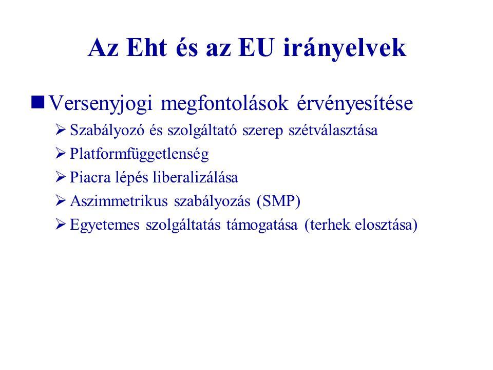 Az Eht és az EU irányelvek Versenyjogi megfontolások érvényesítése  Szabályozó és szolgáltató szerep szétválasztása  Platformfüggetlenség  Piacra l
