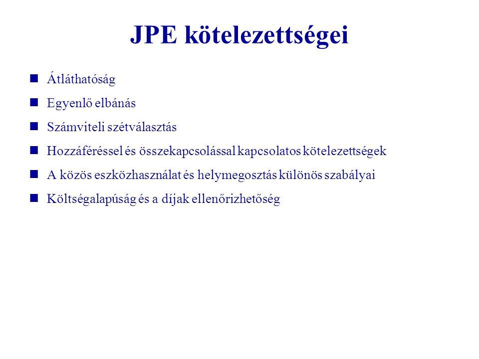 JPE kötelezettségei Átláthatóság Egyenlő elbánás Számviteli szétválasztás Hozzáféréssel és összekapcsolással kapcsolatos kötelezettségek A közös eszkö