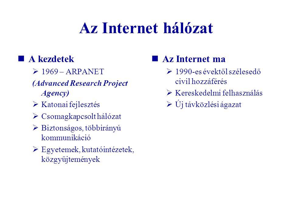 Az Internet hálózat A kezdetek  1969 – ARPANET (Advanced Research Project Agency)  Katonai fejlesztés  Csomagkapcsolt hálózat  Biztonságos, többir