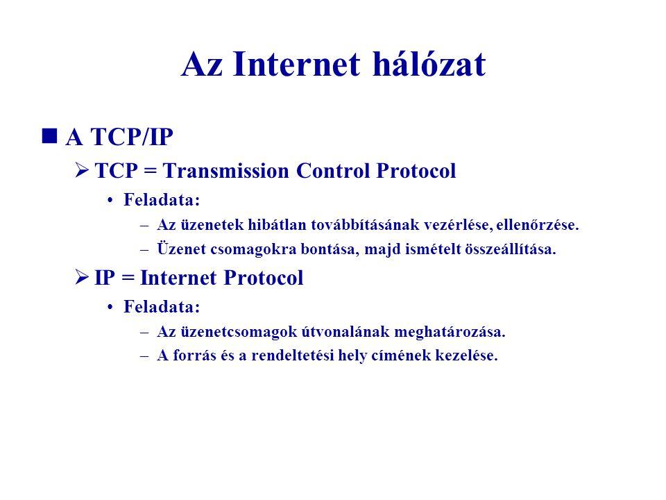 Az Internet hálózat A TCP/IP  TCP = Transmission Control Protocol Feladata: –Az üzenetek hibátlan továbbításának vezérlése, ellenőrzése. –Üzenet csom