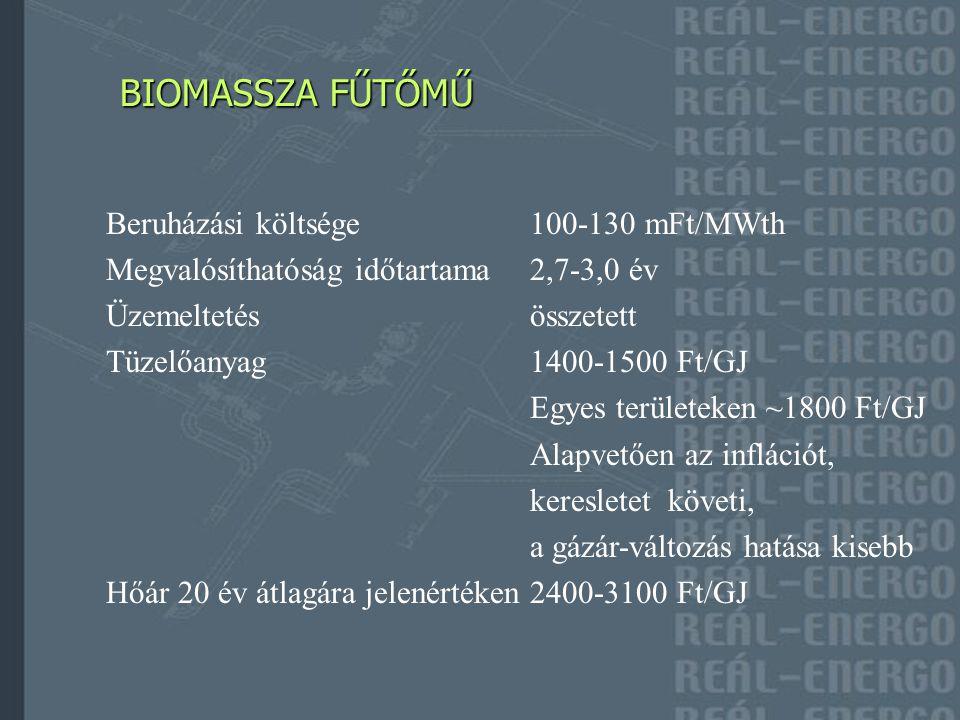BIOMASSZA FŰTŐERŐMŰ BIOMASSZA FŰTŐERŐMŰ Beruházási költsége160-190 mFt/MWth (~3MWe) Megvalósíthatóság időtartama2,7-3,0 év Üzemeltetésösszetettebb Tüzelőanyag1400-1500 Ft/GJ Alapvetően az inflációt, piaci viszonyokat követi, a gázár- változás hatása kisebb Villamosenergia átvételi árkötelező átvétel alá esik, mértékét a METÁR fogja meghatározni, jelenleg 28,68 Ft/kWh Hőár 20 év átlagára jelenértéken2500-3200 Ft/GJ