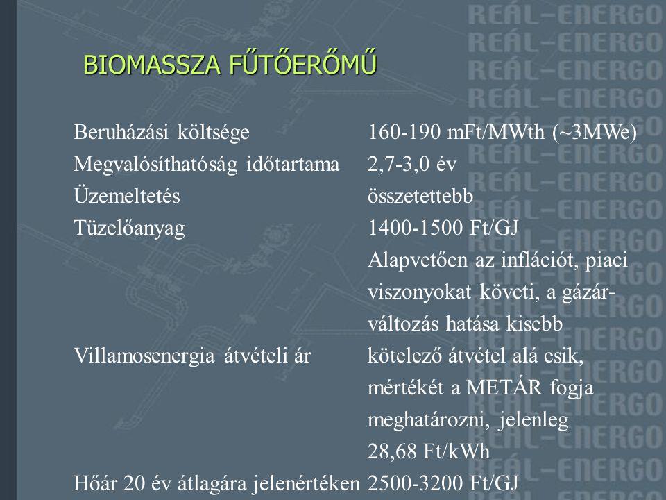 BIOGÁZOS FŰTŐERŐMŰ BIOGÁZOS FŰTŐERŐMŰ Beruházási költsége1,1-1,4 mrdFt/MWe Megvalósíthatóság időtartama2,7-3,0 év Üzemeltetésösszetett, kényes, Szabályozhatósága lassú TüzelőanyagÁra nagyon szór, 5500-12000 Ft/t (1570-3430 Ft/GJ) Alapvetően időjárásfüggő, az inflációt, piaci változásokat követi, a gázár-változás hatása kisebb Villamosenergia átvételi árkötelező átvétel alá esik, mértékét a METÁR fogja meghatározni, jelenleg 28,68 Ft/kWh Hőár 20 év átlagára jelenértéken 3563-10194 Ft/GJ