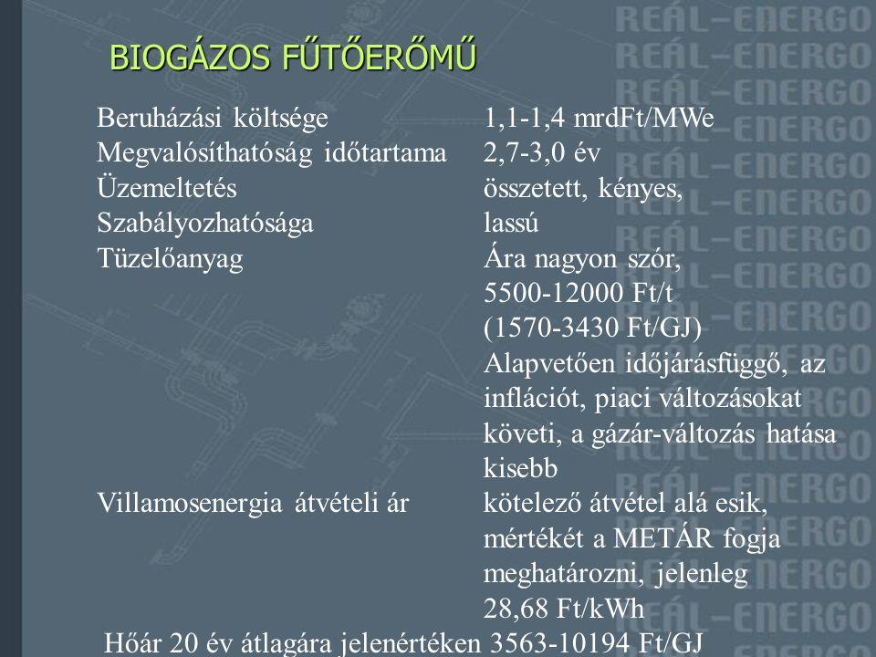 HULLADÉKHASZNOSÍTÓ FŰTŐERŐMŰ HULLADÉKHASZNOSÍTÓ FŰTŐERŐMŰ Beruházási költsége3,0-3,5 mrdFt/MWe Megvalósíthatóság időtartama3,0-3,5 év Üzemeltetésösszetett TüzelőanyagKapupénz mértéke 4000-9000 Ft/t Villamosenergia átvételi árkötelező átvétel alá esik, mértékét a METÁR fogja meghatározni, jelenleg 24,45 Ft/kWh Hőár 20 év átlagára jelenértéken 4390-5690 Ft/GJ a kapupénz függvényében