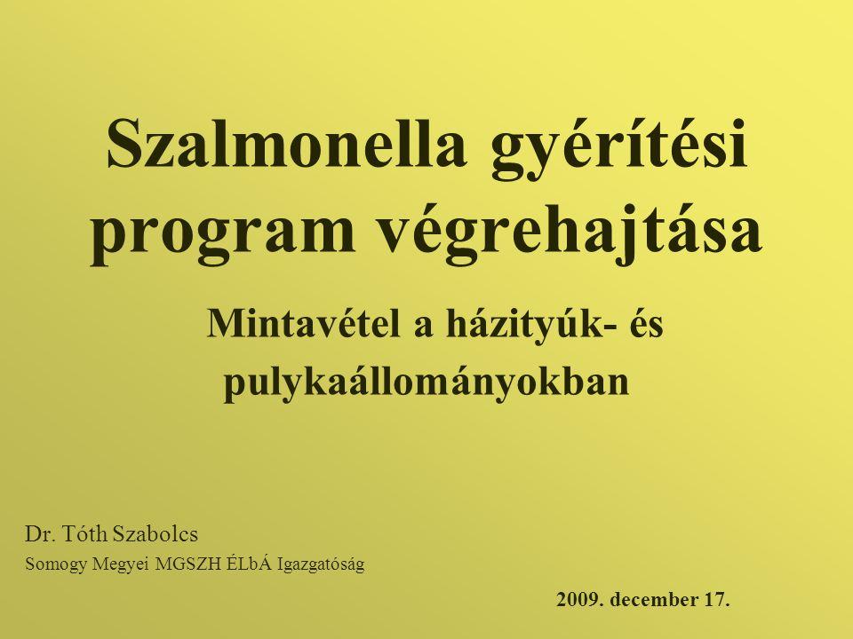 Szalmonella gyérítési program végrehajtása Mintavétel a házityúk- és pulykaállományokban Dr. Tóth Szabolcs Somogy Megyei MGSZH ÉLbÁ Igazgatóság 2009.
