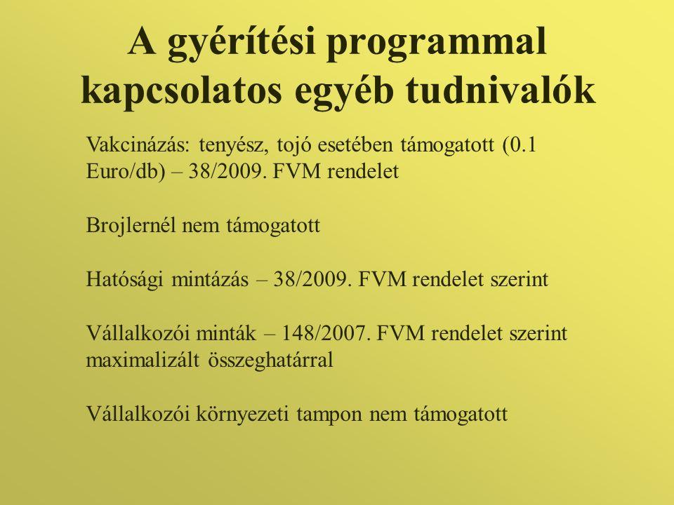 A gyérítési programmal kapcsolatos egyéb tudnivalók Vakcinázás: tenyész, tojó esetében támogatott (0.1 Euro/db) – 38/2009. FVM rendelet Brojlernél nem