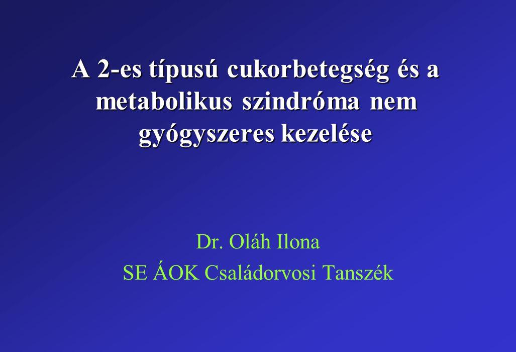 A 2-es típusú cukorbetegség és a metabolikus szindróma nem gyógyszeres kezelése Dr. Oláh Ilona SE ÁOK Családorvosi Tanszék