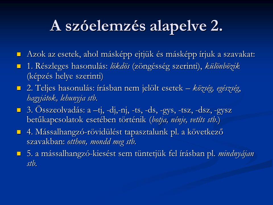 A szóelemzés alapelve 2. Azok az esetek, ahol másképp ejtjük és másképp írjuk a szavakat: Azok az esetek, ahol másképp ejtjük és másképp írjuk a szava