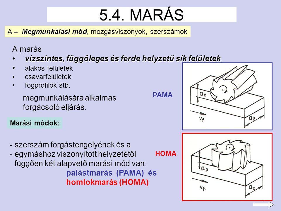 2 -a maró forgástengelye párhuzamos a megmunkálandó felülettel -főleg keskeny és hosszú, összetett sík vagy alakos felületek megmunkálására alkalmazzák -a palástmarás lehet + ellenirányú és + egyenirányú.