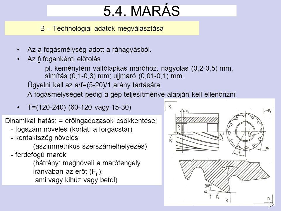 11 B – Technológiai adatok megválasztása Az a fogásmélység adott a ráhagyásból.