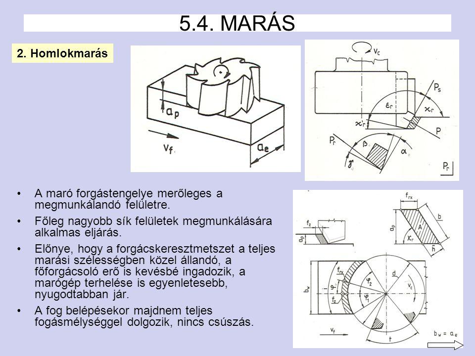 5 A maró forgástengelye merőleges a megmunkálandó felületre.