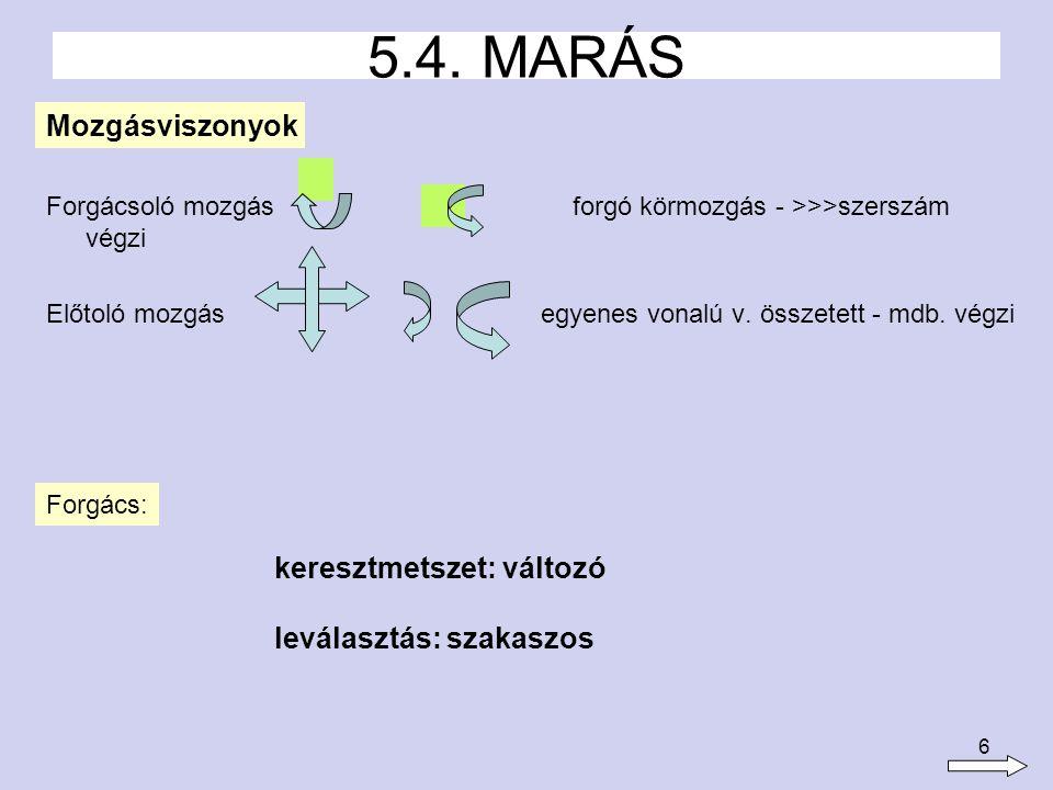 7 Marók: határozott élgeometriájú, többélű szerszámok, melyek alakja kialakítása és anyaga a mindenkori követelményeknek megfelelően más és más 5.4.