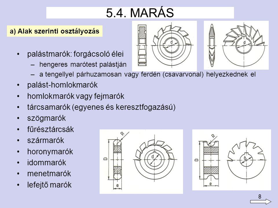 8 palástmarók: forgácsoló élei –hengeres marótest palástján –a tengellyel párhuzamosan vagy ferdén (csavarvonal) helyezkednek el palást-homlokmarók homlokmarók vagy fejmarók tárcsamarók (egyenes és keresztfogazású) szögmarók fűrésztárcsák szármarók horonymarók idommarók menetmarók lefejtő marók 5.4.