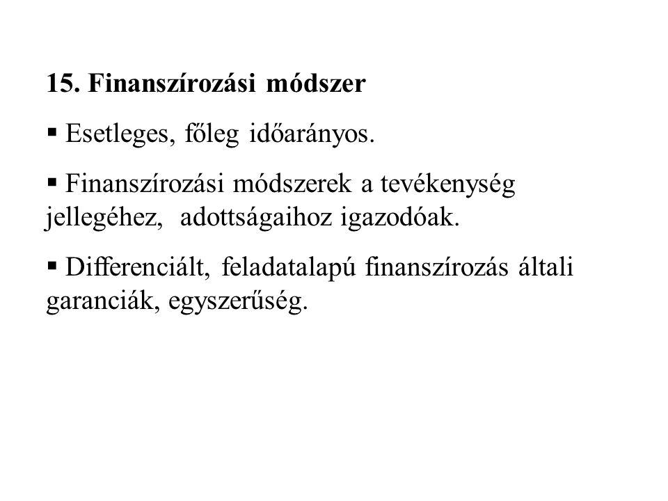 15. Finanszírozási módszer  Esetleges, főleg időarányos.